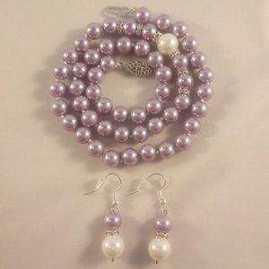 Crystal Purple South Sea Shell Pearl Necklace+Gift